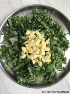 Malabar spinach chutney ingredients