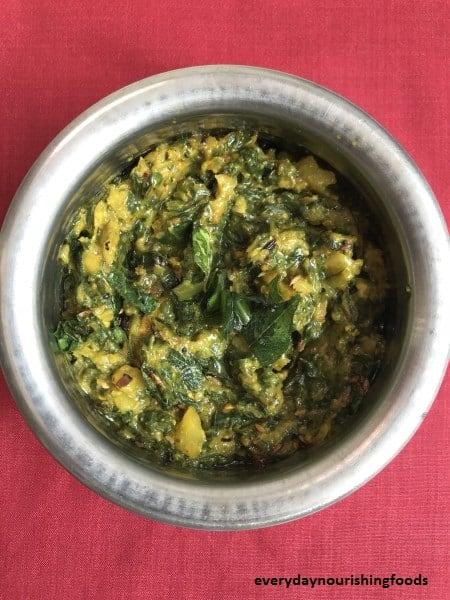 Malabar spinach chutney recipe – Andhra roti pachadi