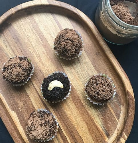 Chocolate Coconut ladoo with palm jaggery