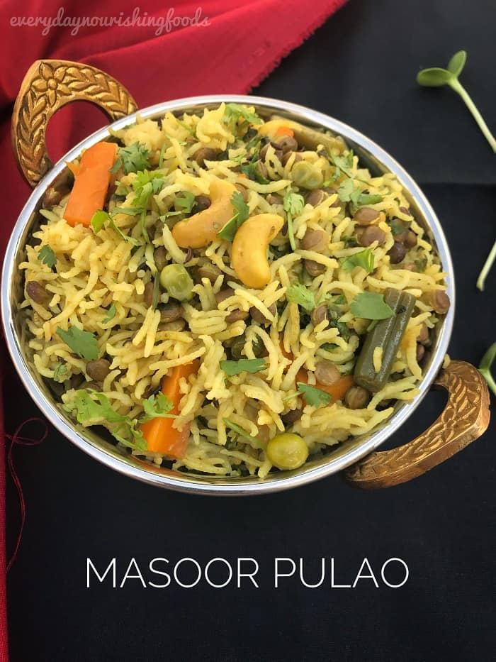 Masoor Pulao recipe with sabut masoor dal