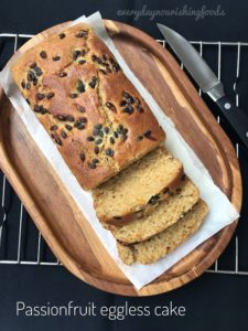 Passionfruit eggless cake recipe