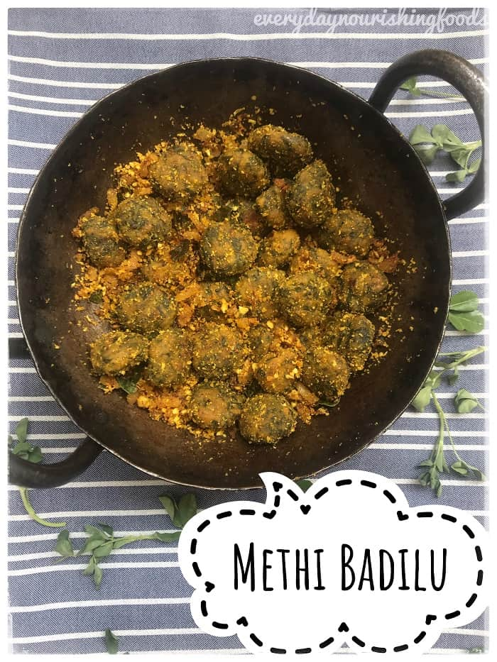 Menthikura badilu – Steamed Methi Muthiya curry