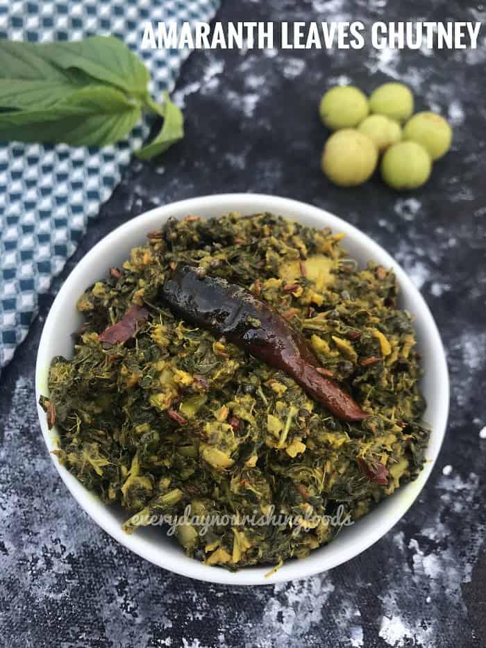Thotakura pachadi | Amaranth leaves chutney