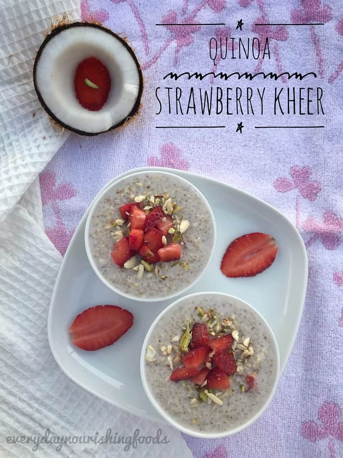 Quinoa kheer - Quina pudding with strawberries recipe