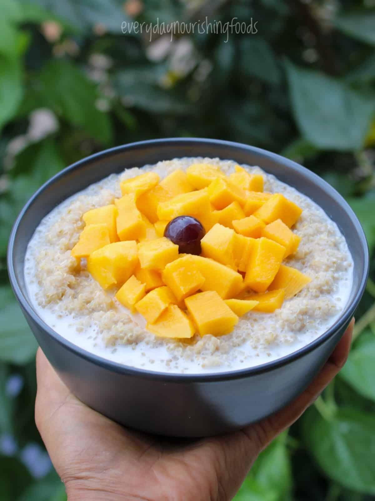 quinoa breakfast porridge in a bowl