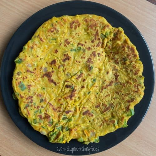 besan chilla in a plate