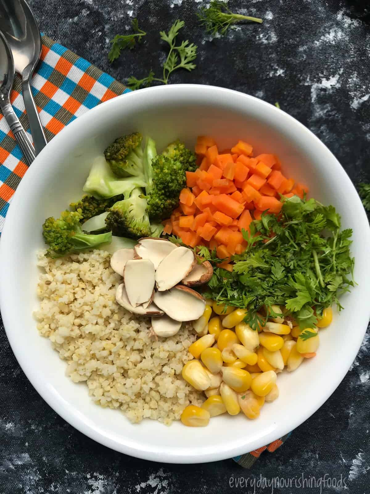 millet salad ingredients in a bowl