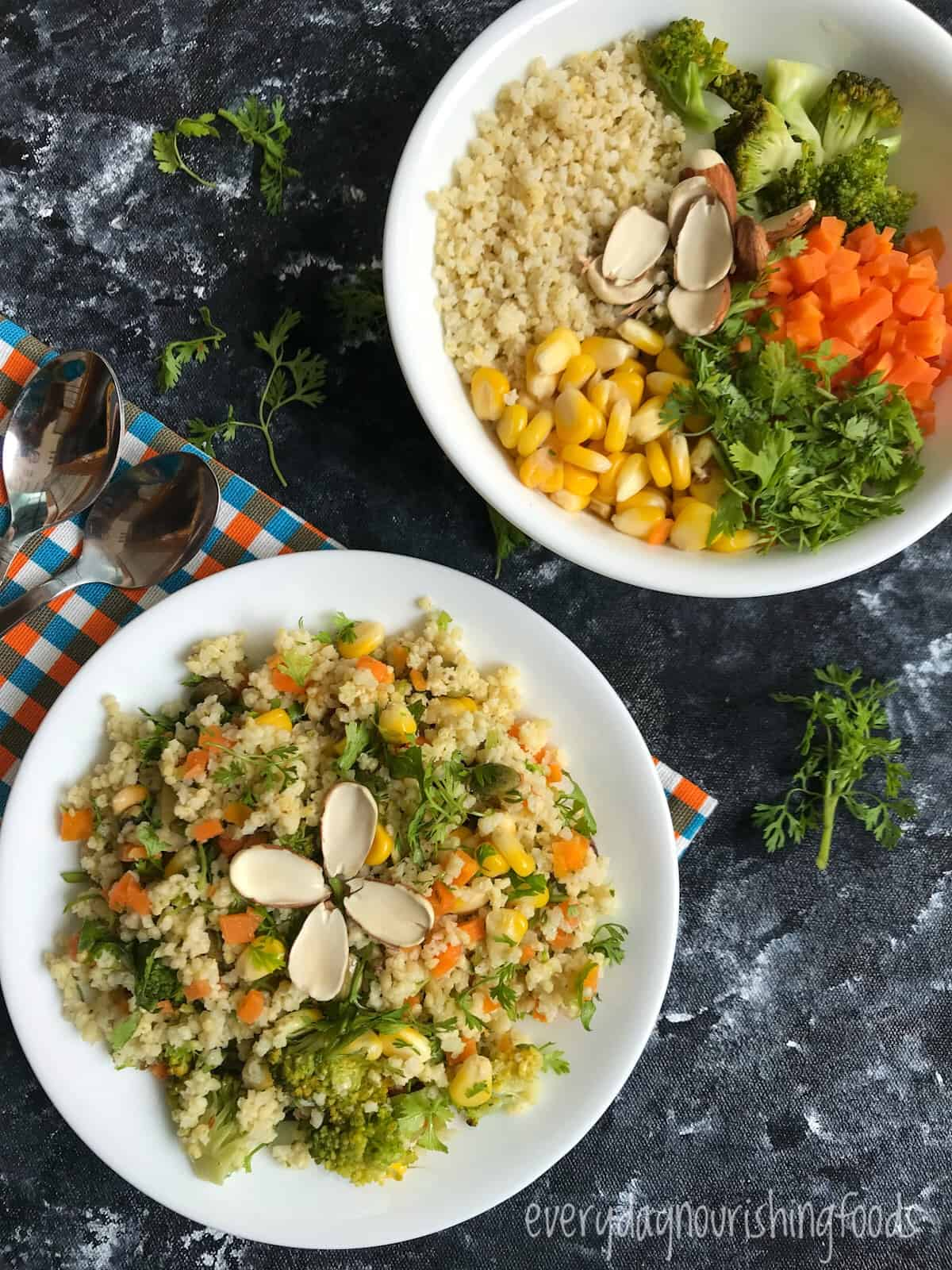foxtail millet salad in a bowl and platepicture with ingredients