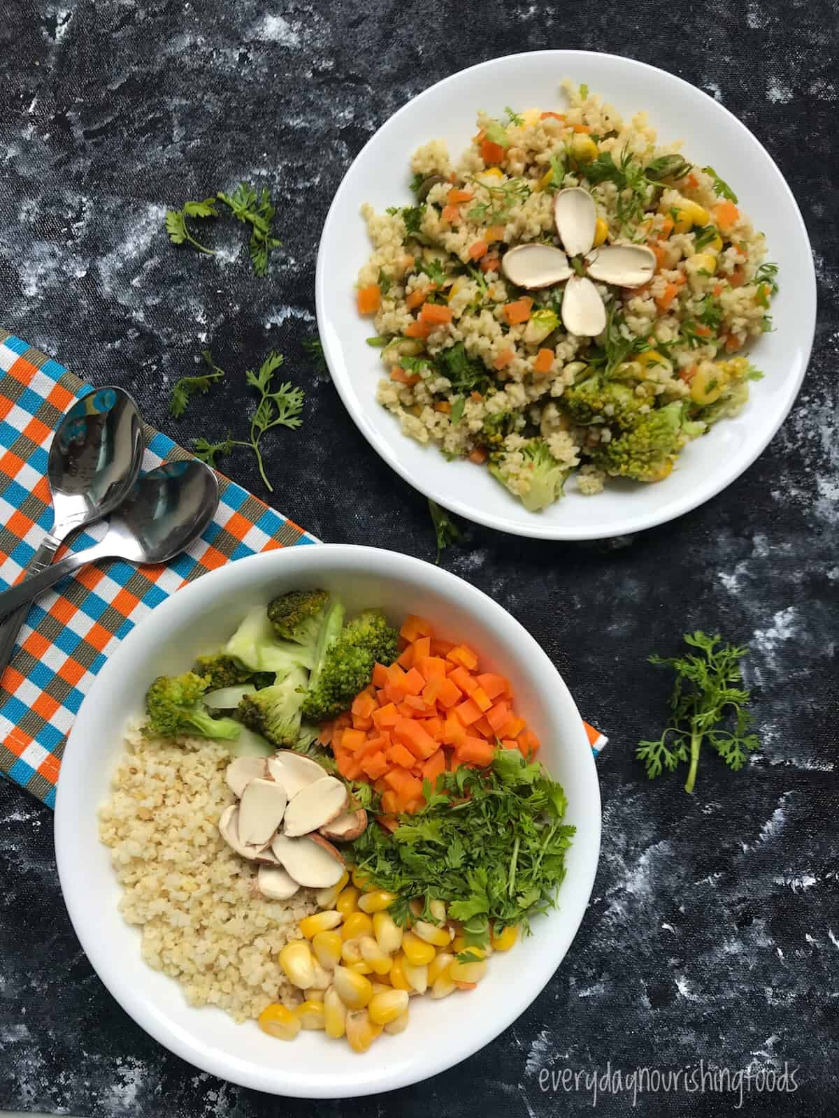 millet vegetable salad recipe with ingredients picture