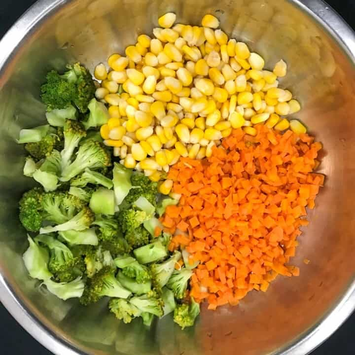 veggies in a bowl for millet vegetable salad
