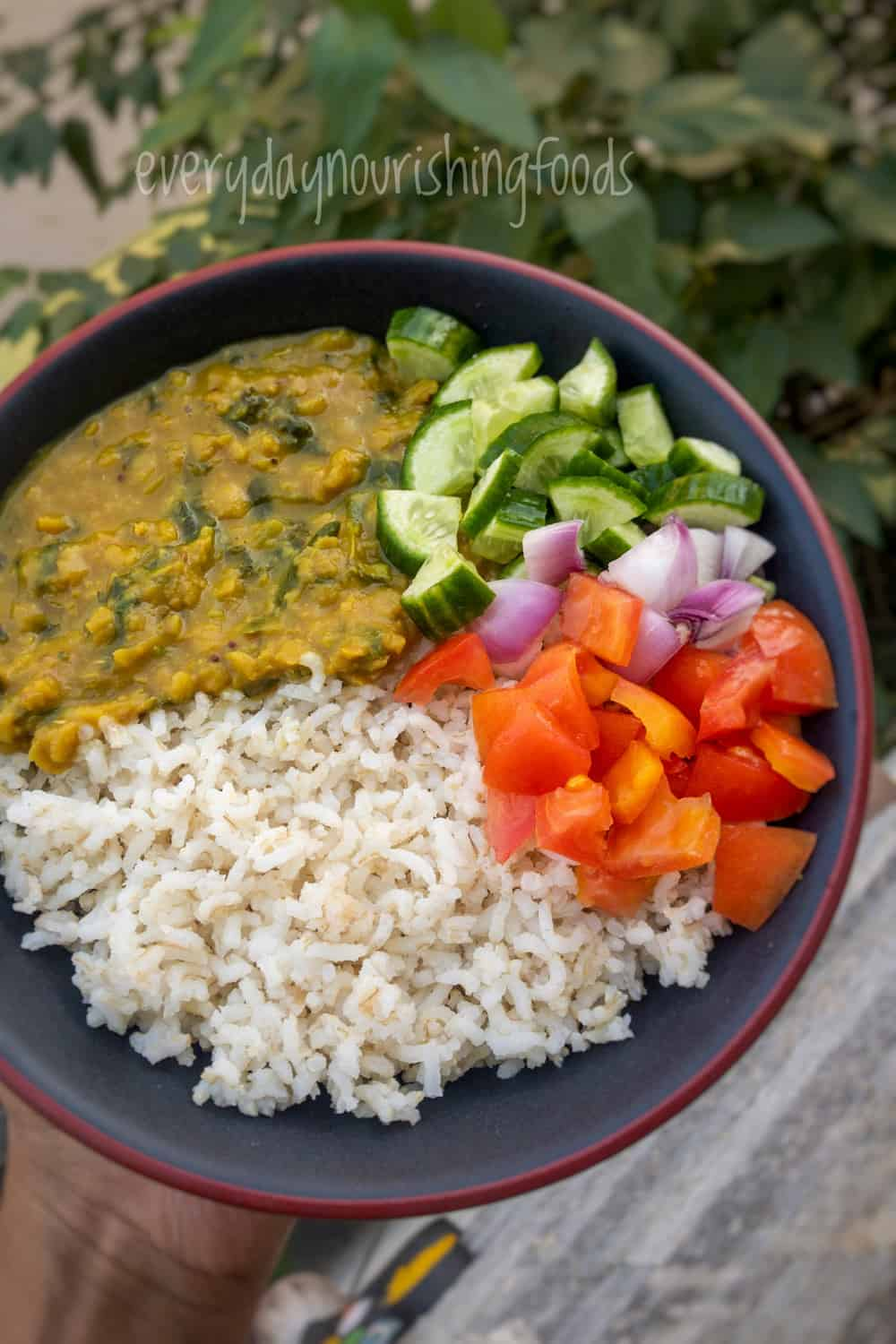 amaranth dal with rice and vegetable salad