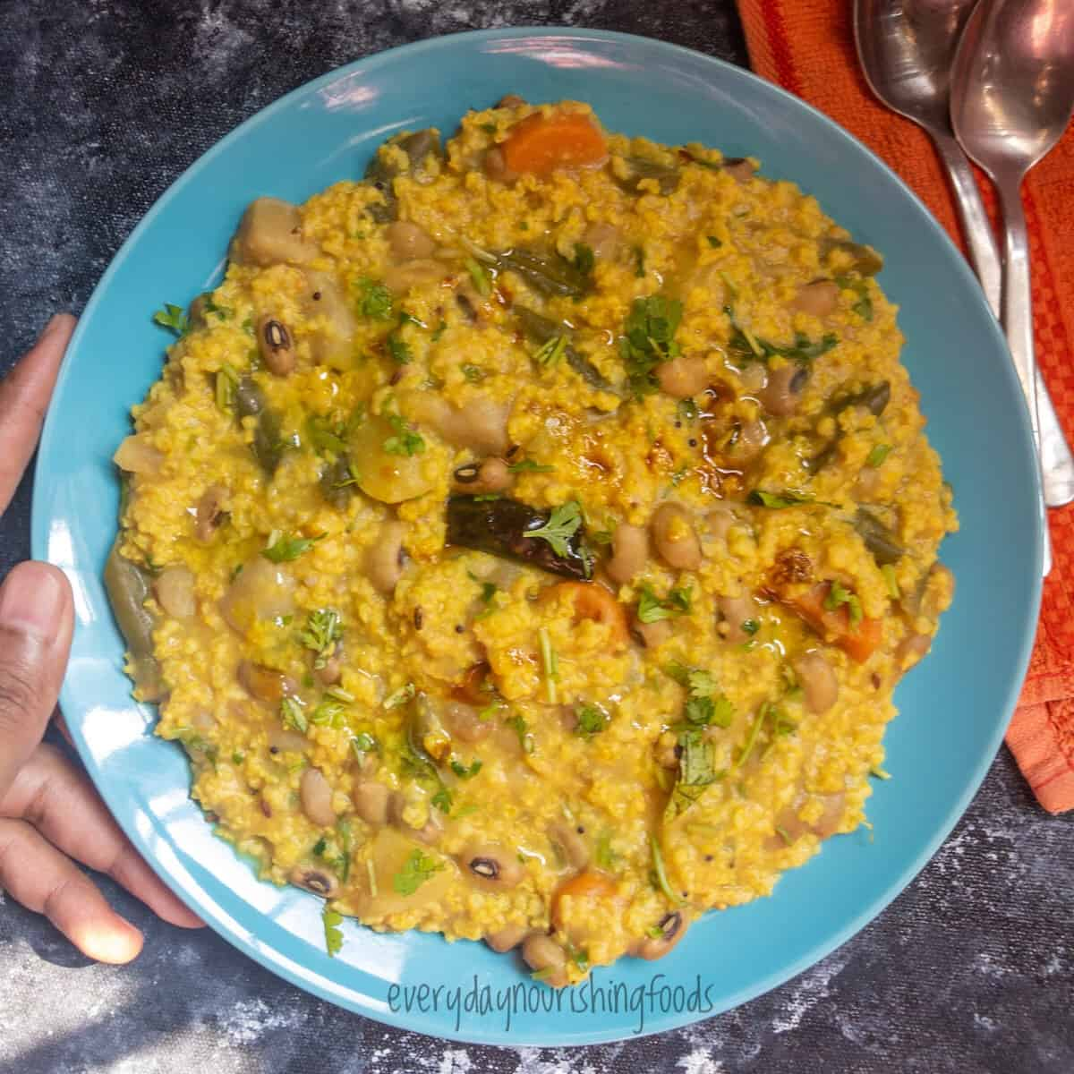 millet khichdi served in a plate