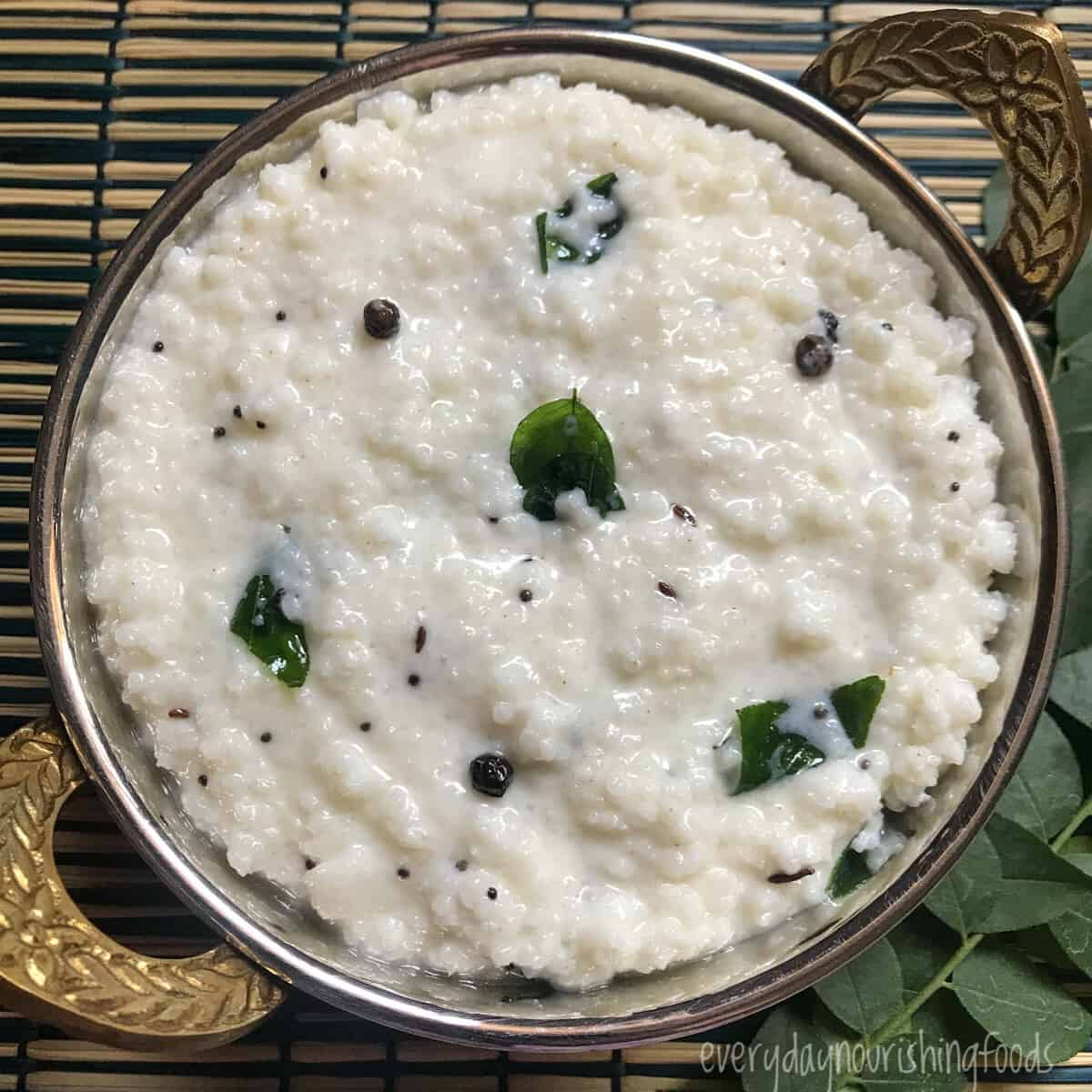 curd rice with cooked millet in a bowl