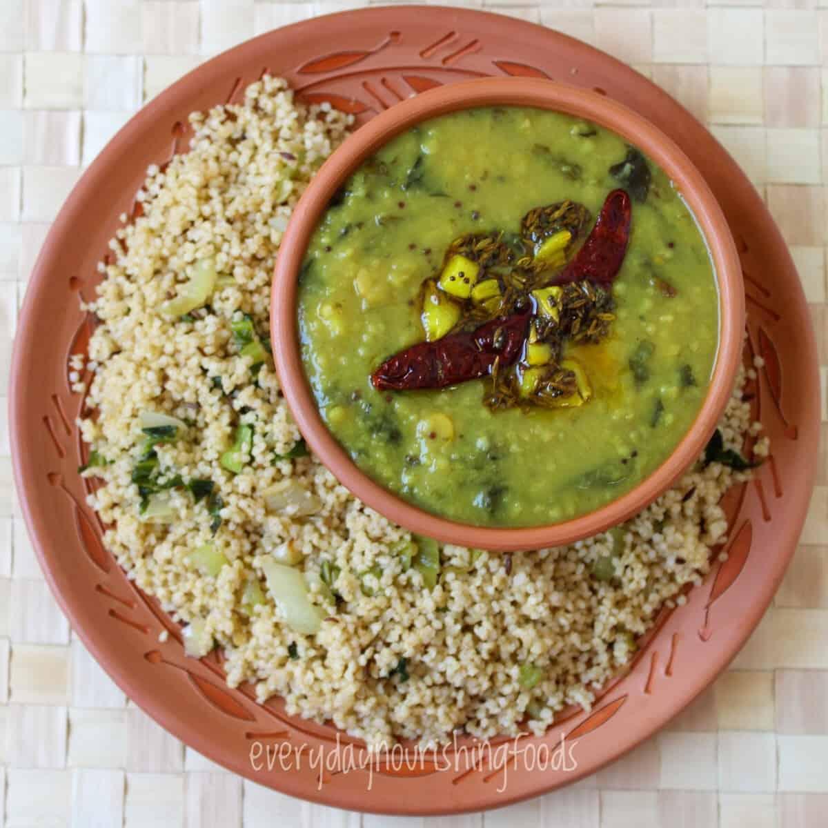 Gongura pappu in a plate