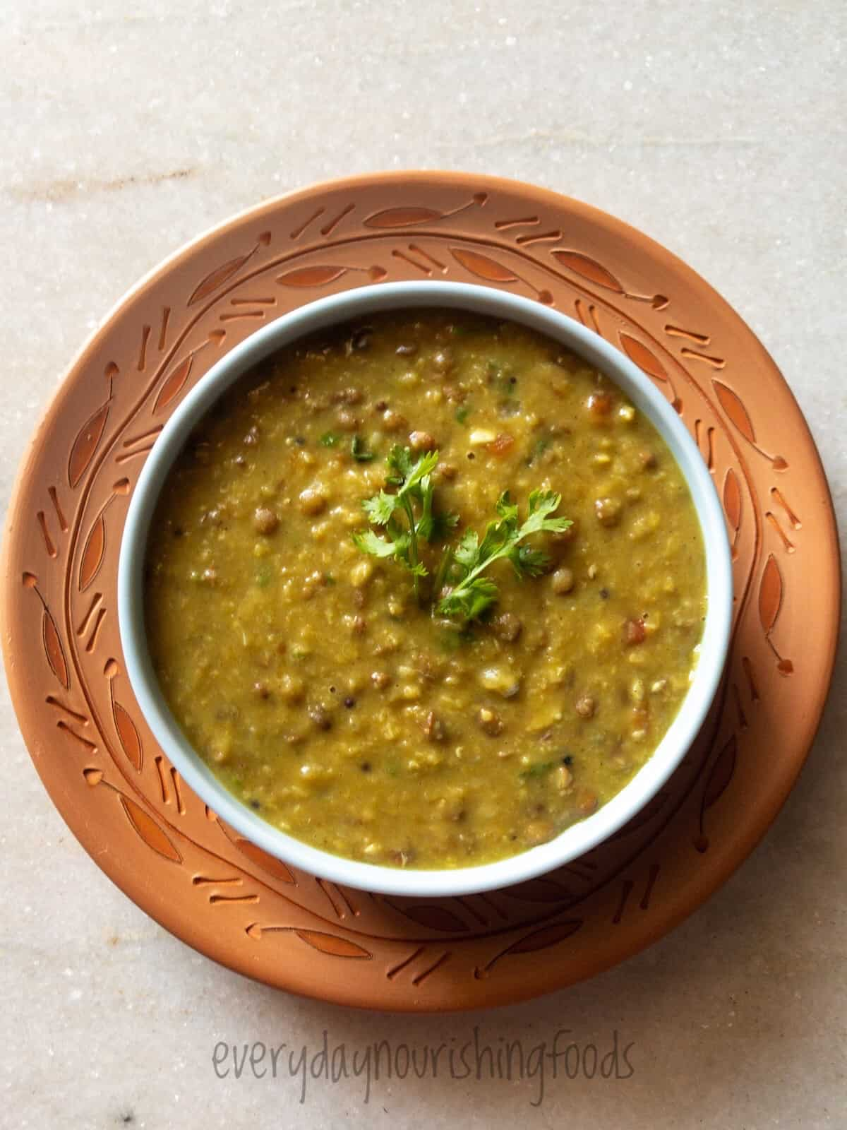 Indian style mixed dal tadka in a bowl