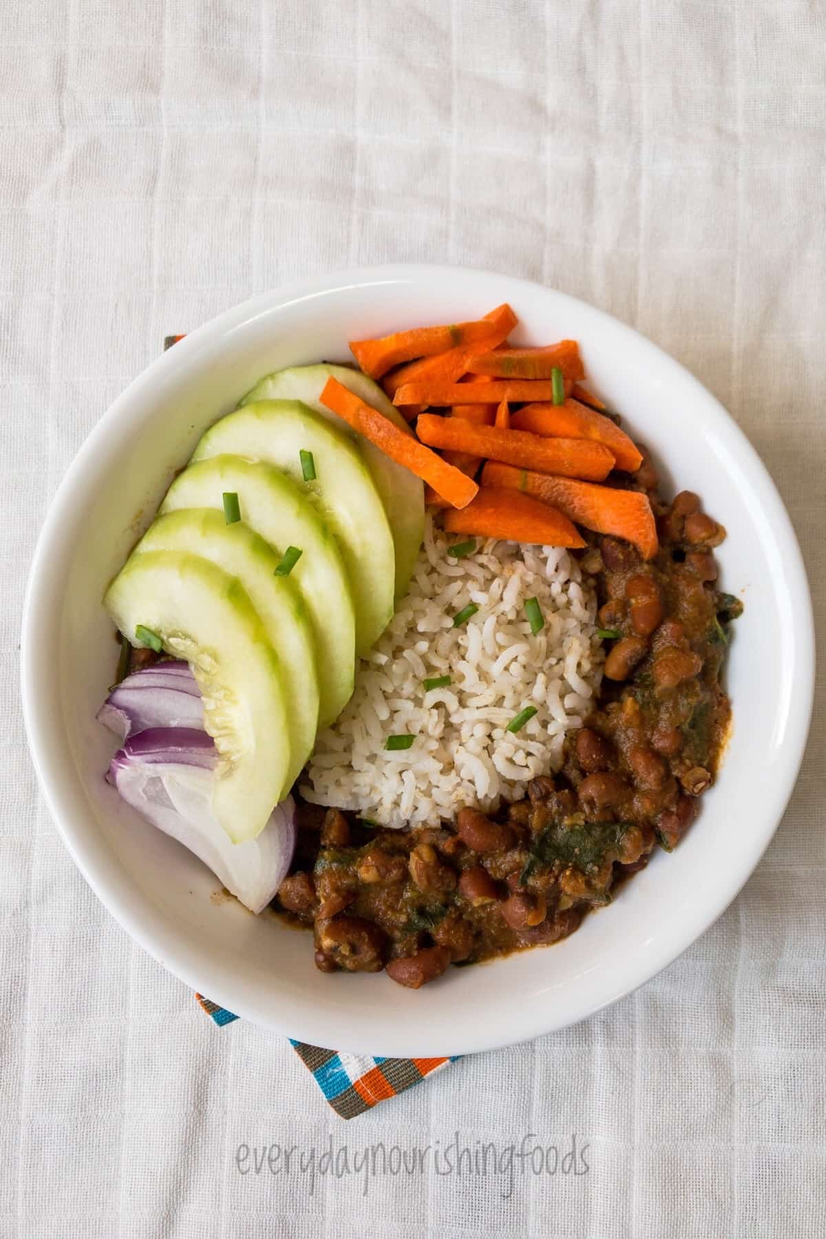 black eyed peas curry and rice in a bowl