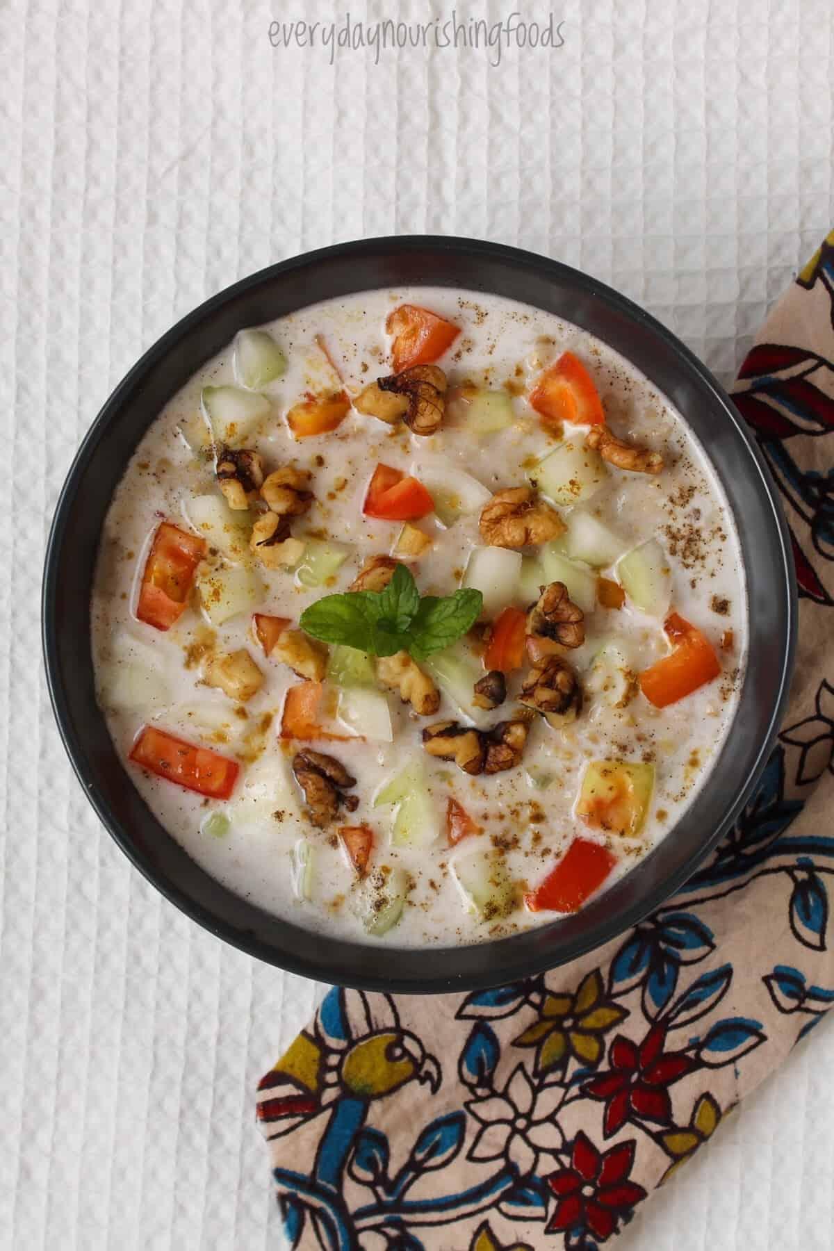 savory steel cut oats in a bowl