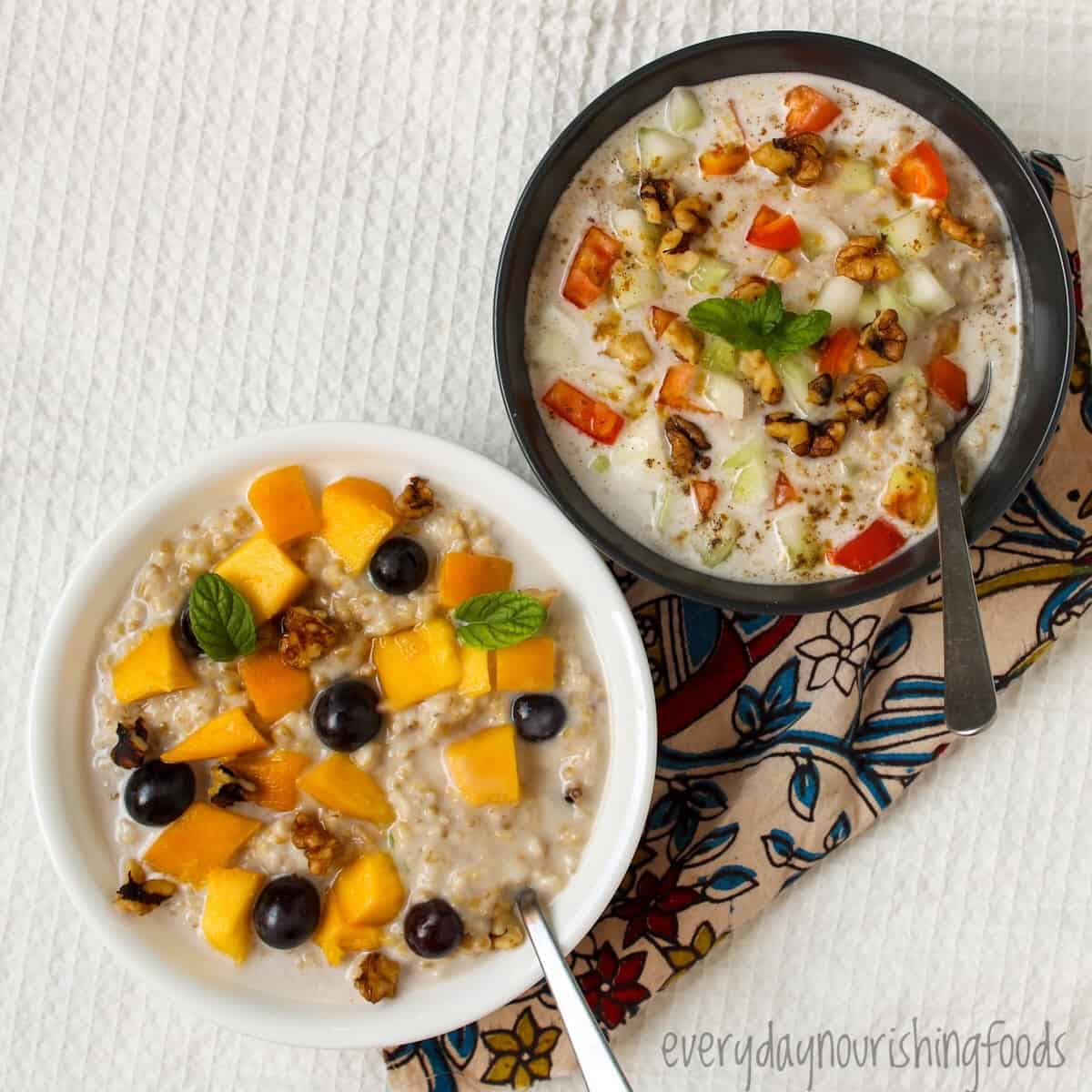 steel cut oats topping ideas - sweet and savory