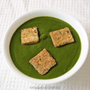 vegan palak paneer in a bowl