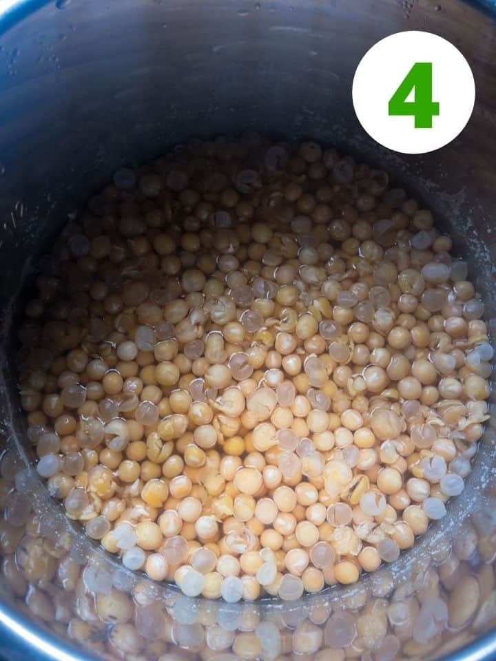 cooked yellow peas in instant pot.