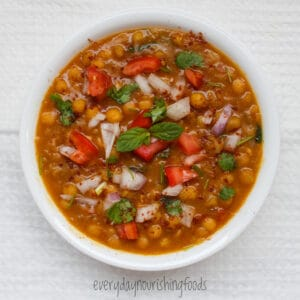 yellow peas curry in a bowl