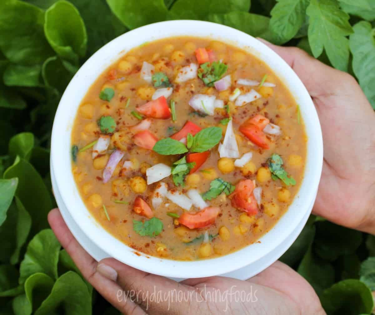 matar chaat in a bowl