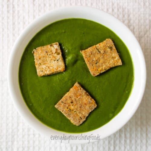 palak tofu in a bowl