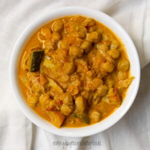 coconut chickpea vegetable curry in a bowl