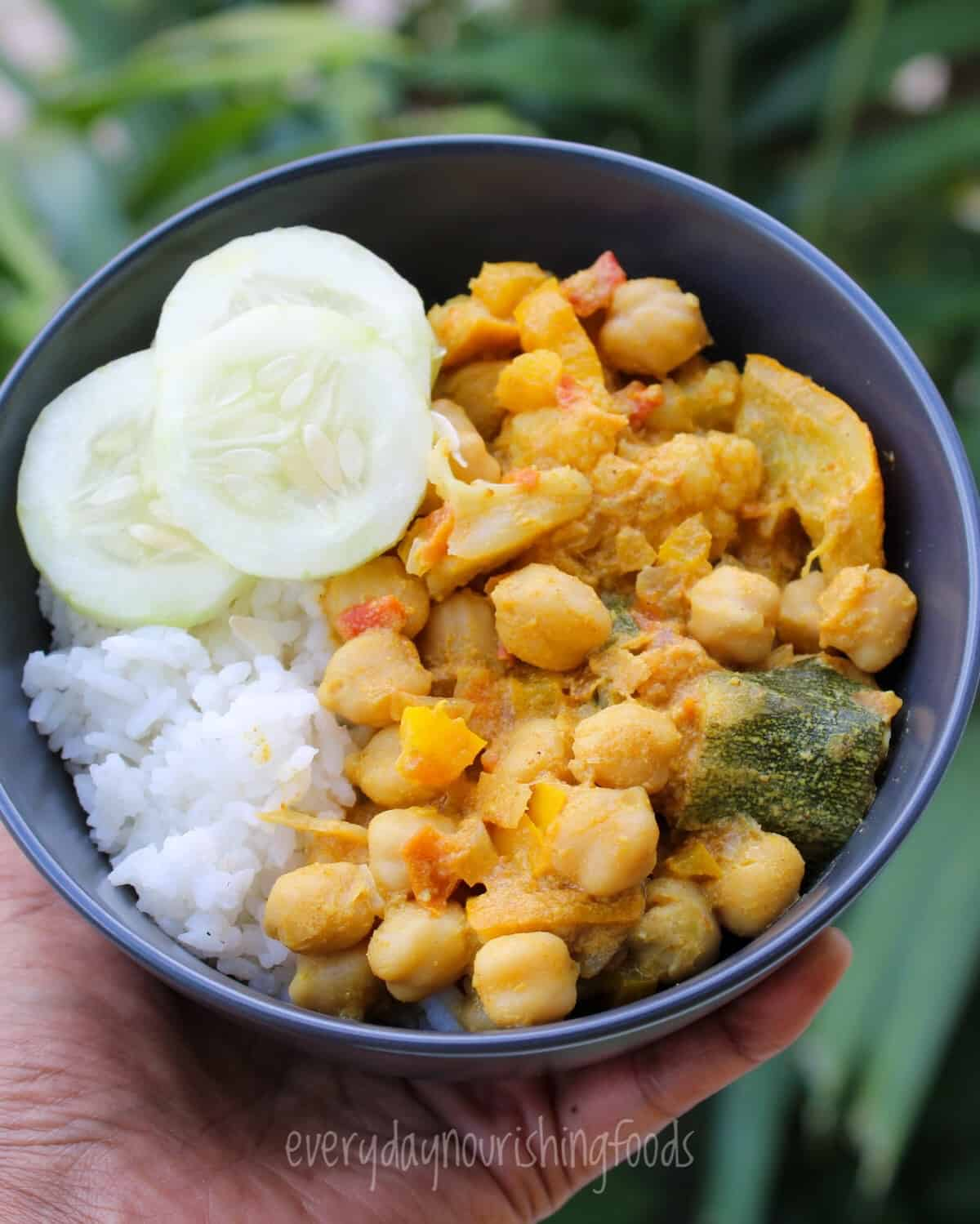 vegetable curry with rice in a bowl