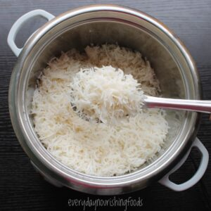 perfect fluffy basmati rice in a rice cooker